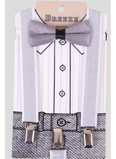 Breeze Erkek Çocuk Papyonlu Pantolon Askısı Siyah-Beyaz (1-10 Yaş) Beyaz